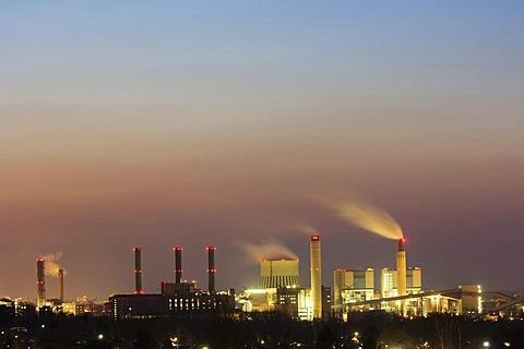 Power plant Reuter, evening, Berlin, Germany