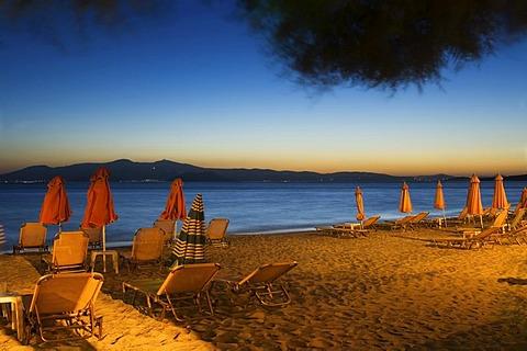 Beach in the evening, view to Paros, Naxos, Greece.