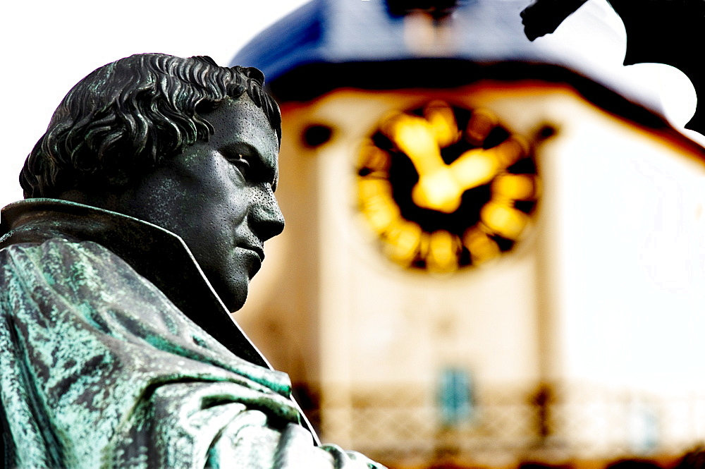 Statue of the reformer Martin Luther on the town hall market in Wittenberg, Saxonia-Anhalt, Germany