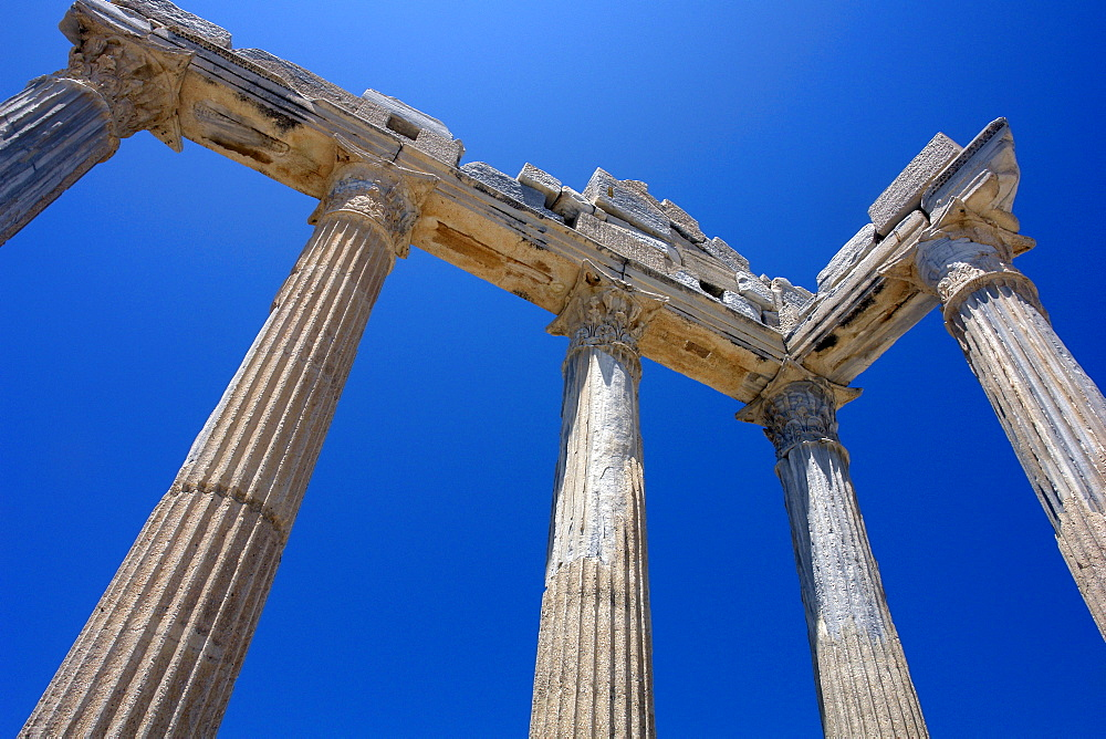 Roman ruins in the townscape of Side. Apollon Temple, Side, Turkey.