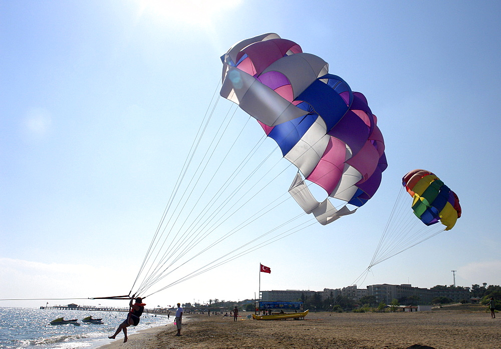 Parasailing at the beach, Side, Turkey.
