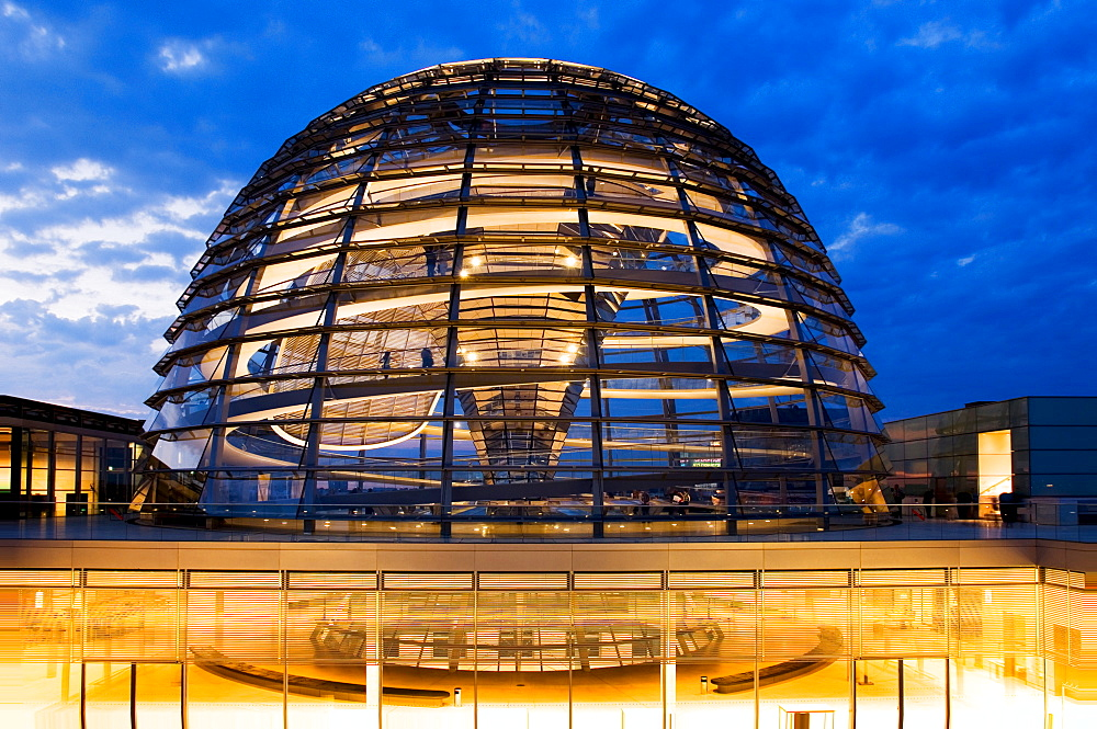 Reichstag dome in the evening, Berlin, Germany