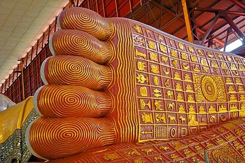 Foot sole of the big Buddha statue at the Nga-Htat-Gyi pagoda, Yangon, Rangon, Myanmar, Burma