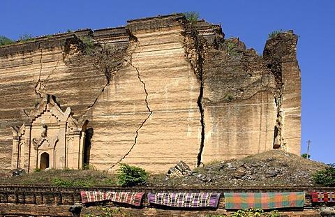 Bottom of the Mantara-gyi-pagoda at Mingun, Myanmar, Burma