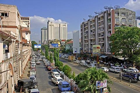 Bogyoke Aung San Road in Yangon, Rangon, Myanmar, Burma
