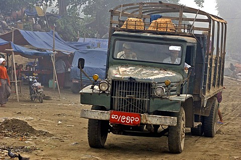 Truck in the Irrawaddy-harbour of Mandaly, Myanmar, Burma
