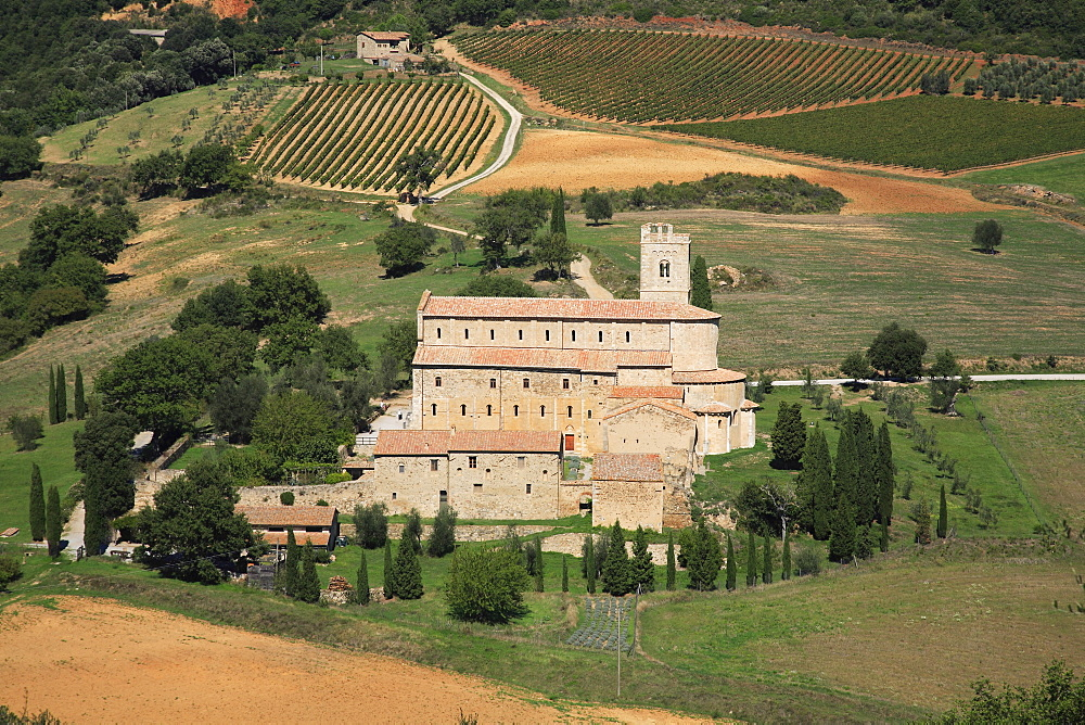 Church and monastery of Sant' Antimo, Tuscany, Italy