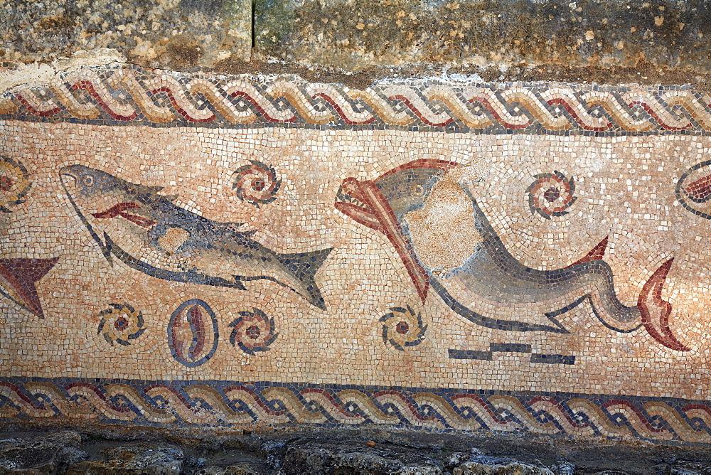Mosaic in the roman ruins of Milreu near Estoi, Algarve, Portugal
