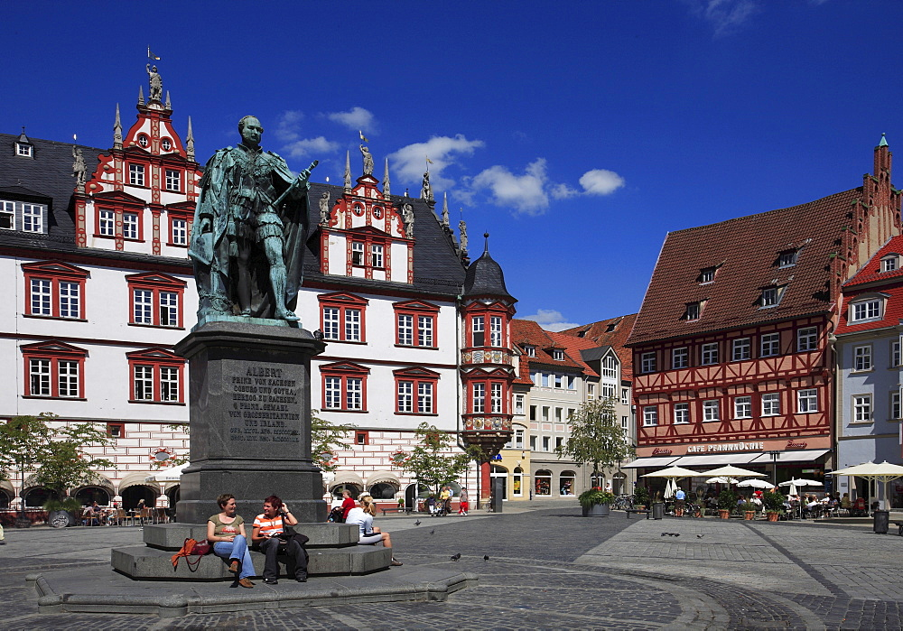 Marketplace and historic town house, Coburg, Upper Franconia, Bavaria, Germany, Europe