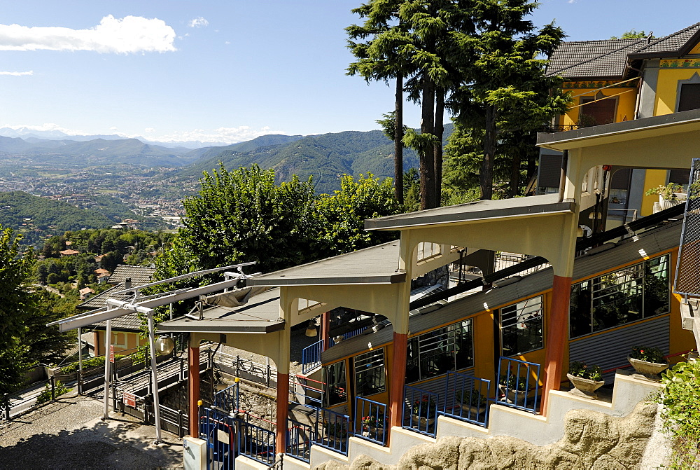 Panoramic view from the peak station of the rack-and-pinion railway in Brunate, Lago di Como (Lake Como), Italy, Europe