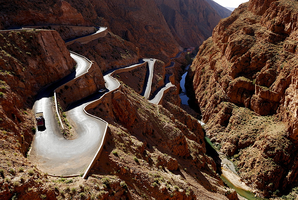 Pass road going through the Atlas Mountains, Dades Gorge, Morocco, North Africa