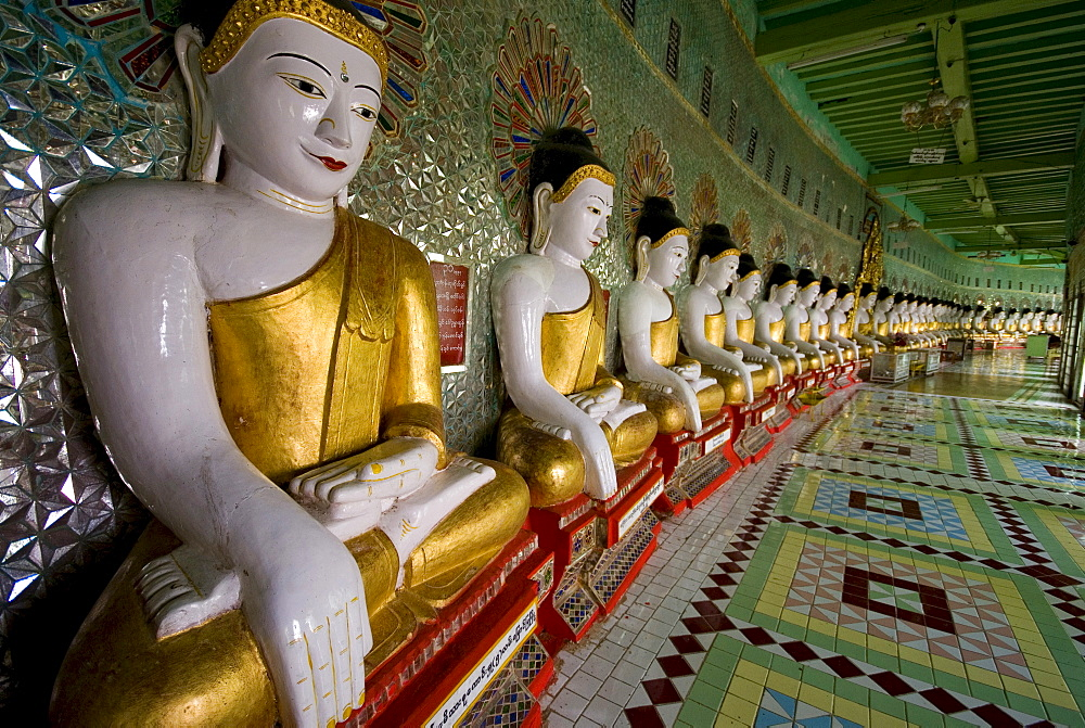 Seated Buddha statues, Sagaing Hill, Mandalay, Myanmar (Burma), Southeast Asia