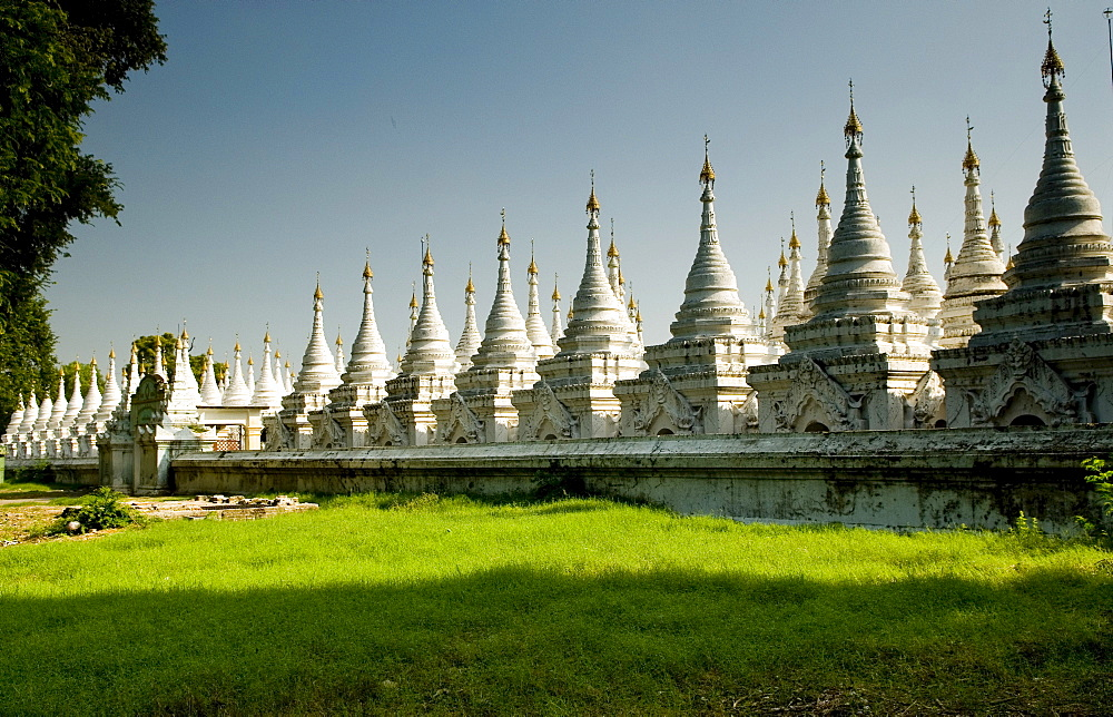 Many white stupas forming several rows, Mandalay, Myanmar (Burma), Southeast Asia