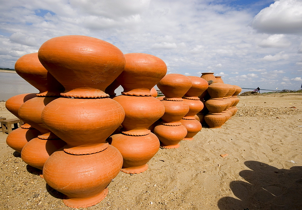 Jugs made of clay on the bank of the Irawaddy River, Bagan, Myanmar, Southeast Asia