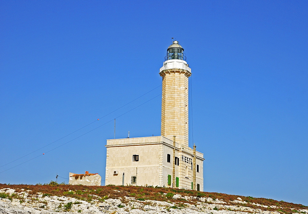 "Lighthouse at the very tip of the heel of the Italian ""boot, "" Vieste, Apulia, Southern Italy"