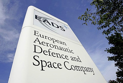 Sign of the European Aeronautic Defence and Space Company (EADS) in front of the firm area in Ottobrunn near Munich Bavaria Germany