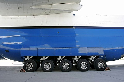 Munich, GER, August 30th 2005 - Landing gear of an Antonov 124 on Airport Munich. The AN 124 is the second largest air freighter in the world.