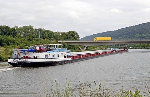 Push tow on the Main Donau channel near Beilngries, Bavaria, Germany