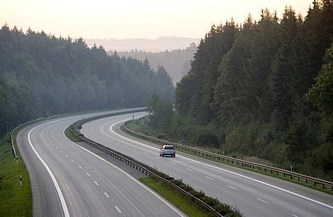 Car on the motorway 3 in south direction near Regensburg, Bavaria, Germany