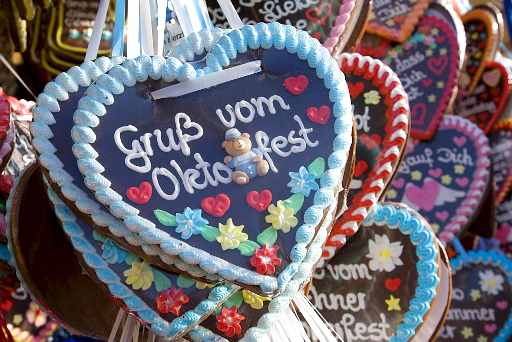 Hearts made of gingerbread on the Munich Oktoberfest Bavaria Germany