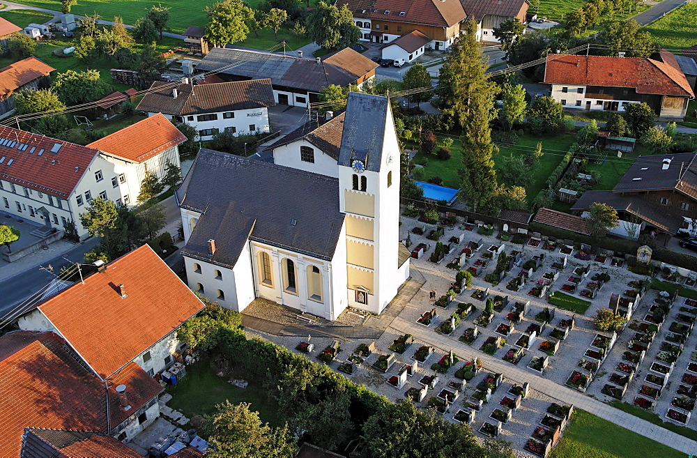 Aerial photo of the church of Willing near Bad Aibling with its cemetry Bavaria Germany