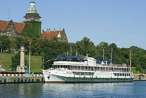Touristship on the pier, Stettin, Szczecin, West Pomerania, Poland