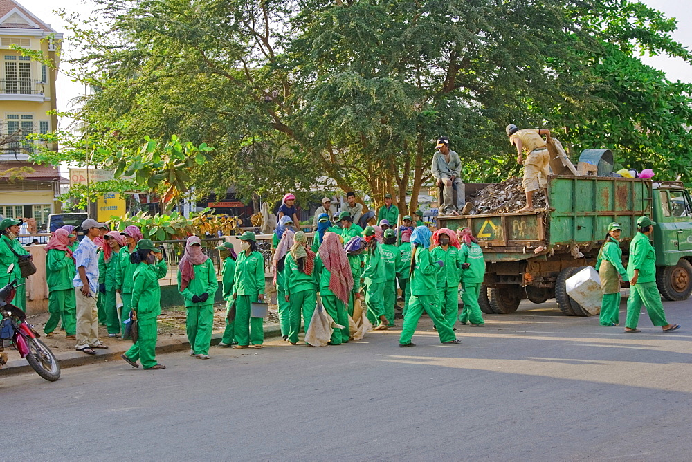 Street cleaning crew from Siem Reap, Cambodia, Asia