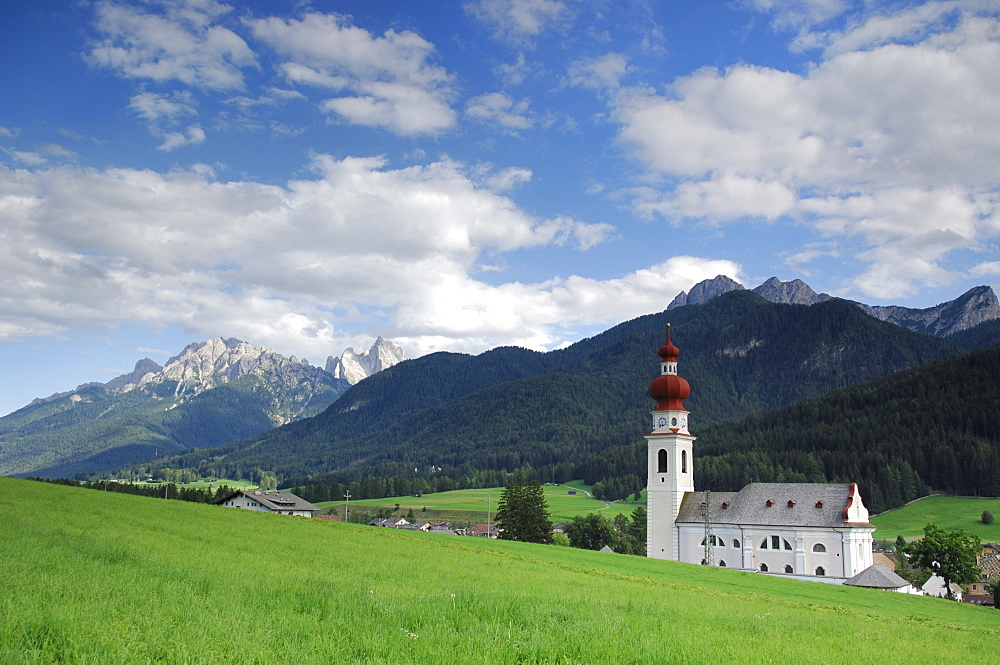 Church of the holiday village Niederdorf in the Puster Valley, South Tyrol, Italy