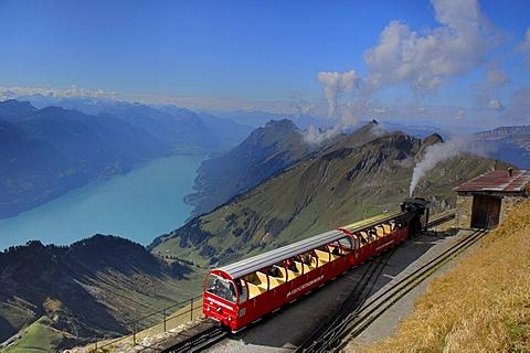 Steam train of the Brienzer Rothorn with view onto the Brienzer Lake, Interlaken, Bernese Oberland, Switzerland