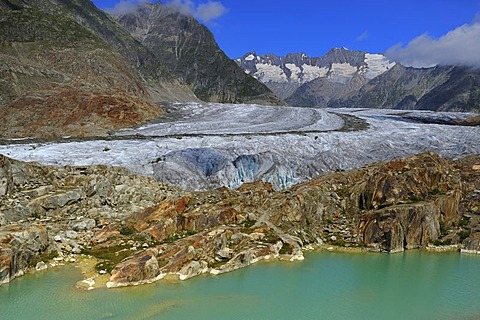 Great Aletsch Glacier, the heart of the UNESCO World Heritage Site Jungfrau-Aletsch-Bietschhorn, Goms, Wallis, Switzerland, Europe