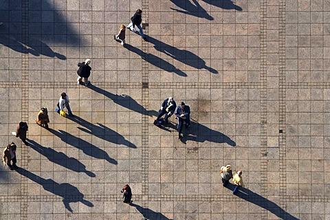 People and shadows, Muensterplatz, Ulm, Baden-Wuettemberg, Germany