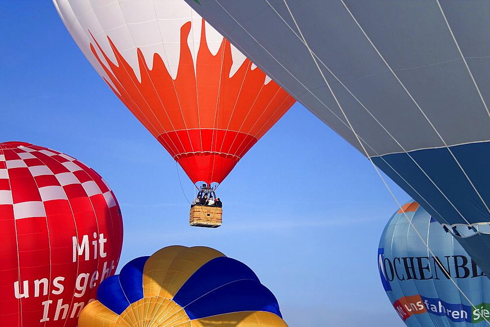 Flying hot-air balloons