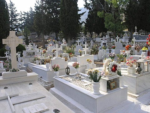 Orthodox cemetery of main village on Hydra Saronic island Greece