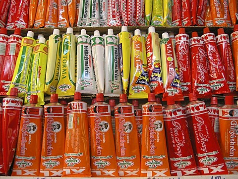 Paprica paste in collapsible tubes in Central Market Hall Budapest Hungary