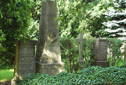 Graves of Georg Wilhelm Friedrich Hegel und Johann Gottlieb Fichte with wives Dorotheendtaedtischer Friedhof Berlin Mitte Germany