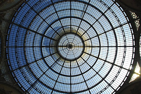 Glass dome Galeria Vittorio Emanuele II. Milan Lombardy Italy