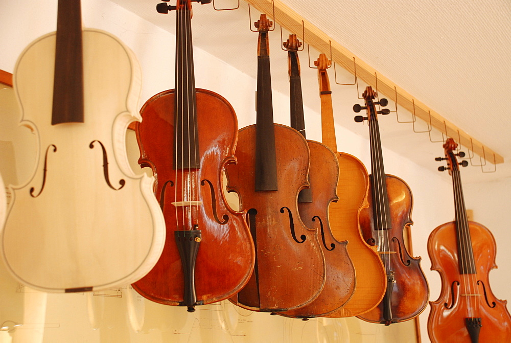 Violins in luthiers workshop