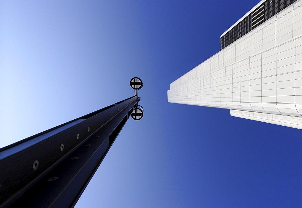 Street lamp and skyscraper, Frankfurt, Hesse, Germany, Europe