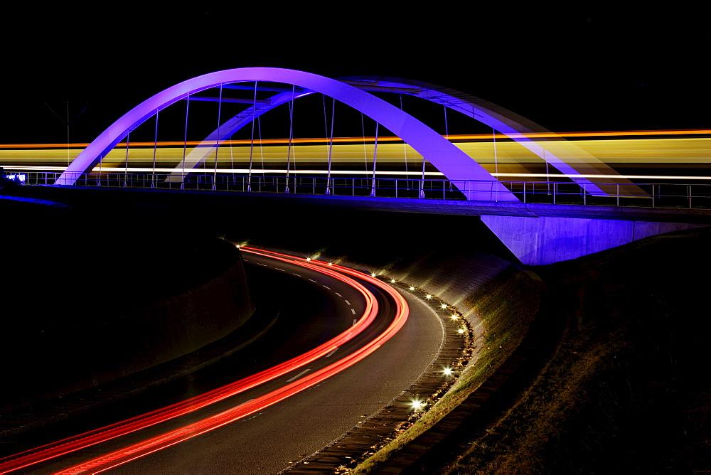 Bridge with light trails at night, Stuttgart, Baden-Wuerttemberg, Germany, Europe