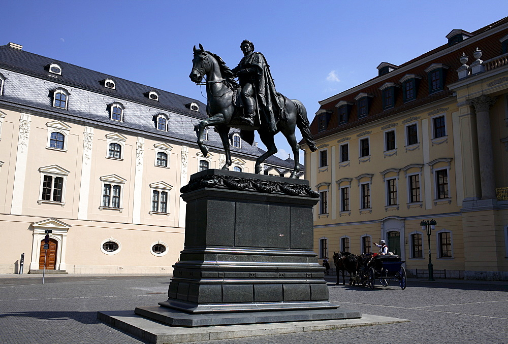 Carl August monument with horse and carriage, Weimar, Thuringia, Germany, Europe