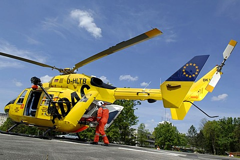 Rescue helicopter Christoph1 in action, Munich, Upper Bavaria, Germany