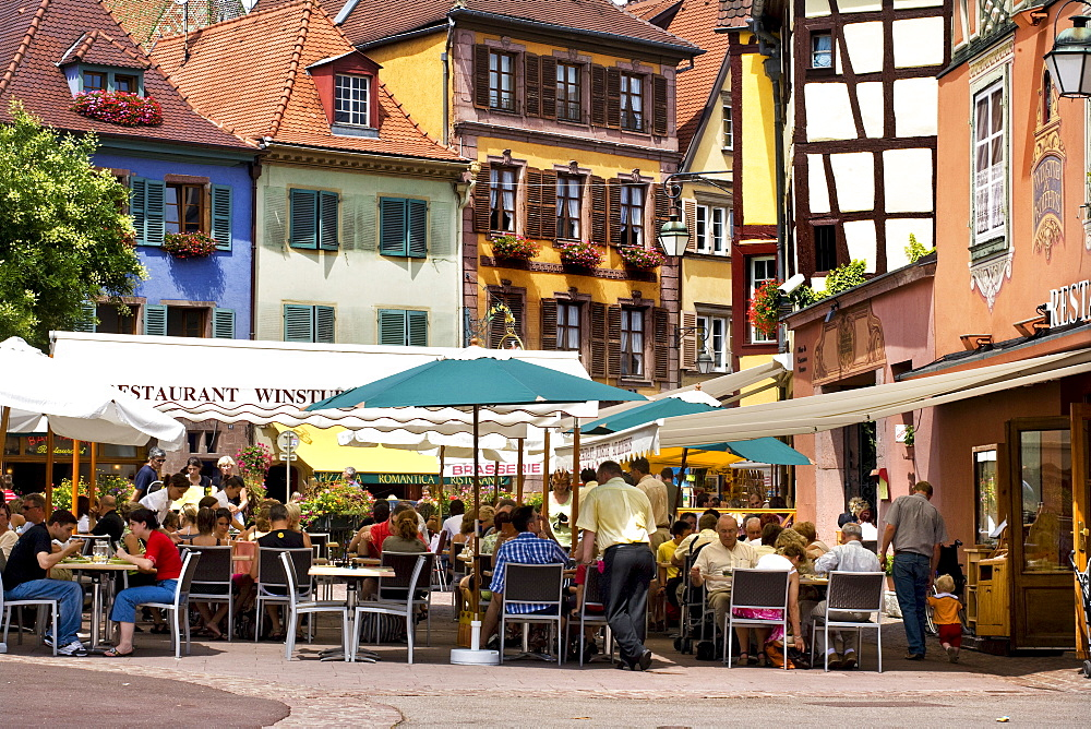 Cafe, historic town centre, Alsace, France, Europe