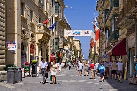 Shopping street, Valletta, Malta, Europe