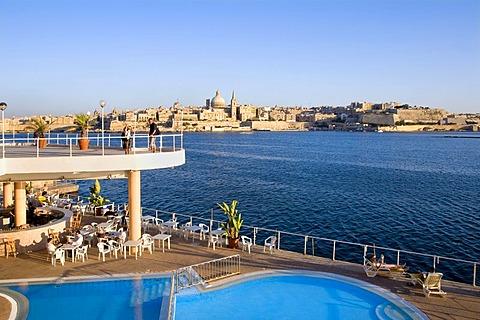 Swimming pool with view of Valletta, Sliema, Malta, Europe