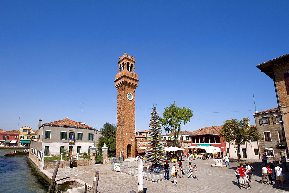 Canale Grande, Grand Canal and church steeple, Murano, Lagoon, Venice, Italy, Europe