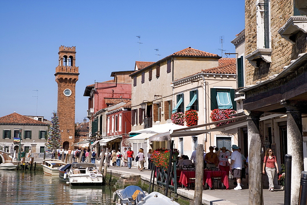 Canale Grande, Grand Canal with church steeple, Murano, Lagoon, Venice, Italy, Europe
