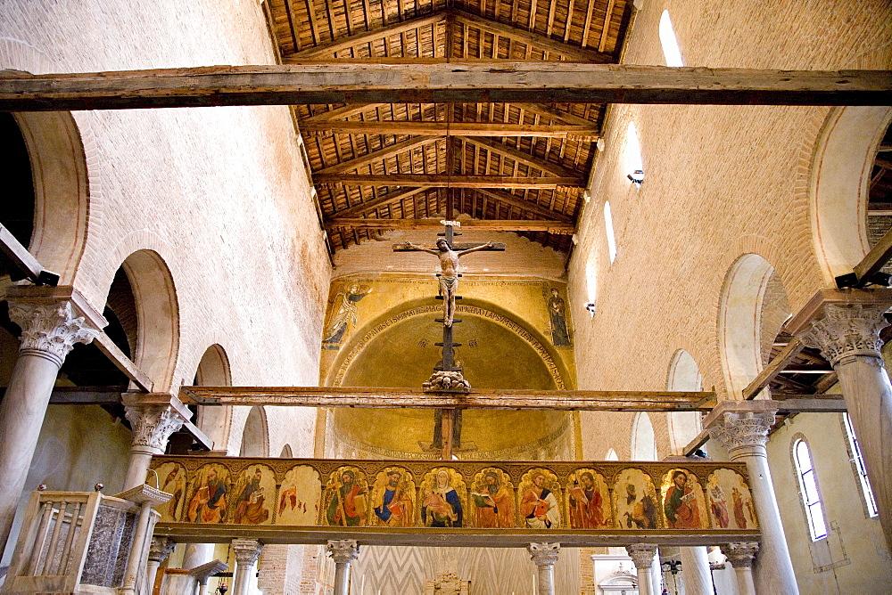 Interior of the Cathedral of Santa Maria Assunta on Torcello Island, Lagoon, Venice, Italy, Europe