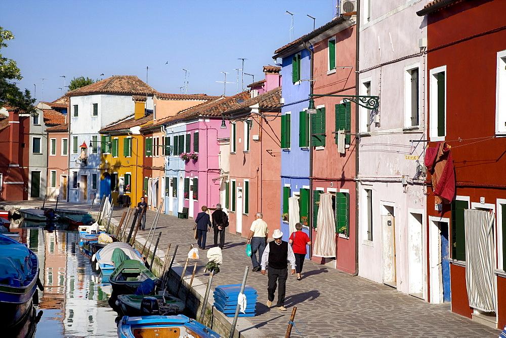 Colourful houses alongside a canal, Burano, Lagoon, Venice, Italy, Europe