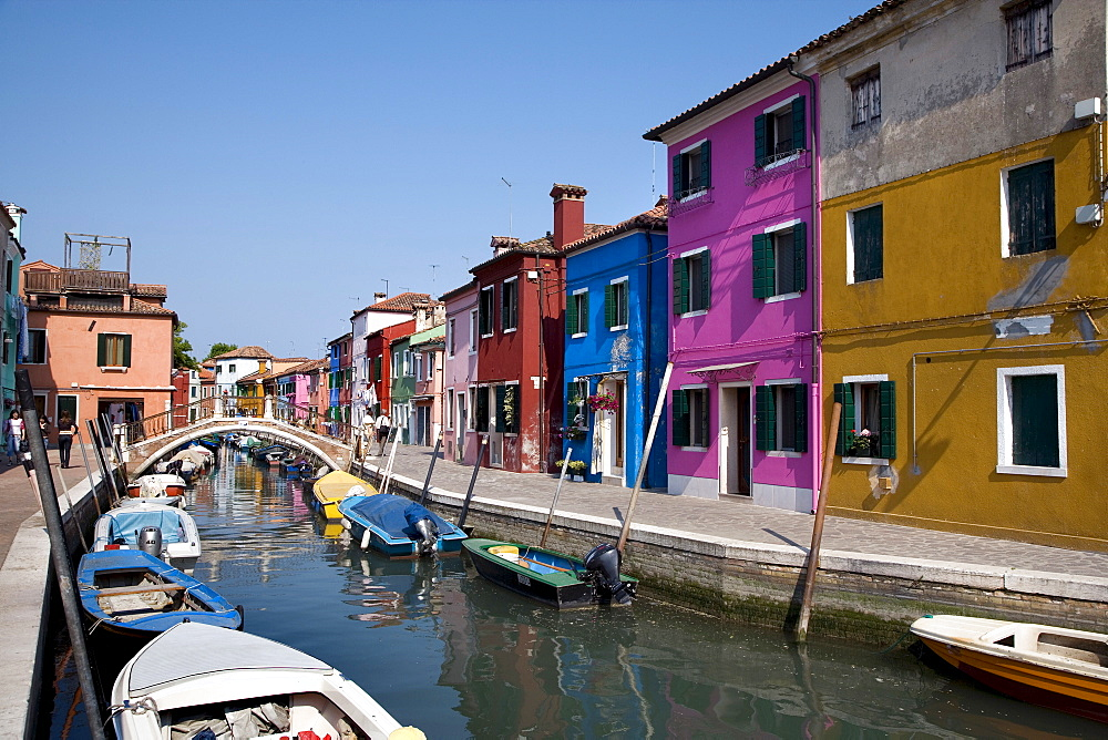 Colourful houses along a canal, Burano, Venetian Lagoon, Italy, Europe