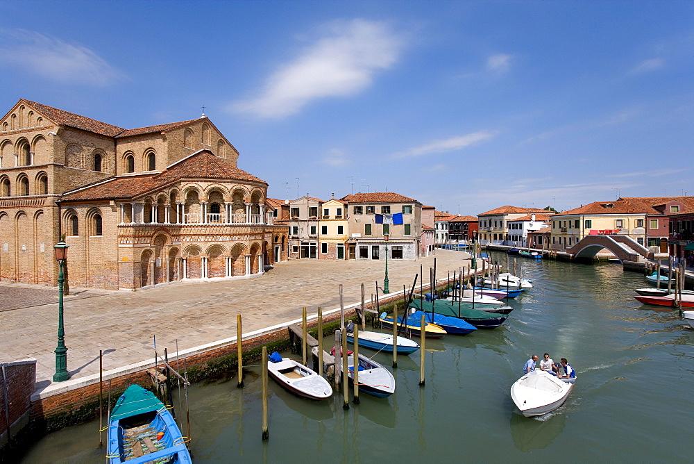 ss. Maria e Donato Church on the canal, boats, Murano, Venetian Lagoon, Italy, Europe